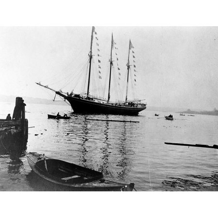 LAMINATED POSTER The civilian schooner Helvetia sometime prior to her United States Navy service as the patrol vessel Poster Print 24 x 36