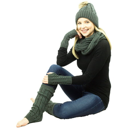 Exotic Identity Pom Pom Hat, Infinity Scarf, Fingerless Gloves, and Leg Warmers Cable Knit 4-Piece Gift Set Tundra Cold Weather Wear for Women - One Size - Grey - Skeleton Fingerless Gloves