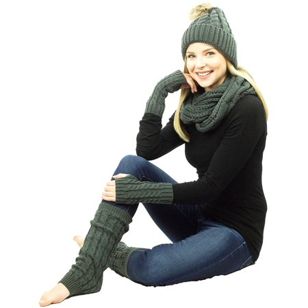 Exotic Identity Women's Cable Knit, 4 Piece Tundra Gift Set - Infinity Scarf, Pom Pom Hat, Fingerless Gloves, and Leg Warmers  - One Size - Grey - White Magician Gloves