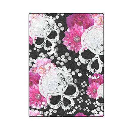 RYLABLUE Flowers And Skulls Floral Gothic Pattern Blanket Throw Super Soft Warm Bed or Couch Blanket 58x80 inches - image 1 of 2