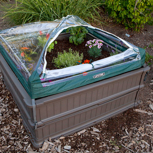 Lifetime 4' x 4' Raised Garden Bed, 2pk with 1 Tent, Brown