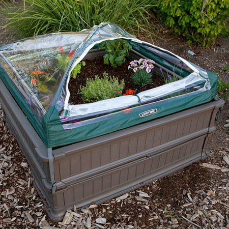 Lifetime 4' x 4' Raised Garden Bed, 2pk with 1 Tent, Brown, (Square Raised Breastplate)