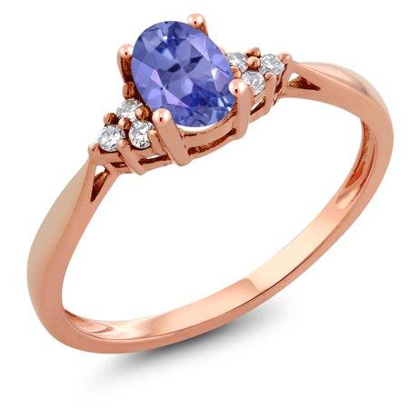 Women's 14K Rose Gold Blue Tanzanite and Diamond Ring