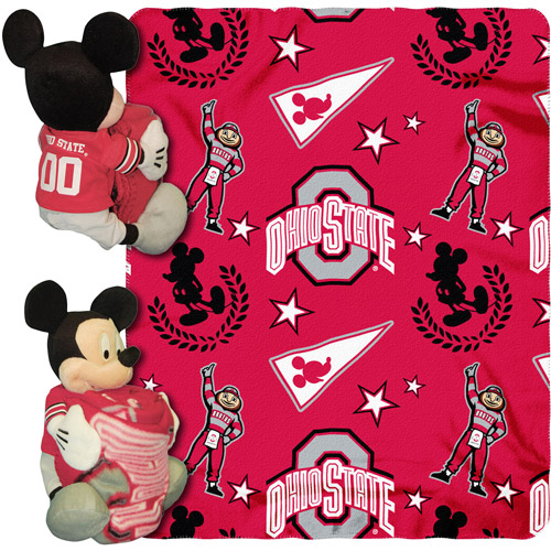 "Disney NCAA Hugger Pillow and 40"" x 50"" Throw Set, Ohio State Buckeyes"