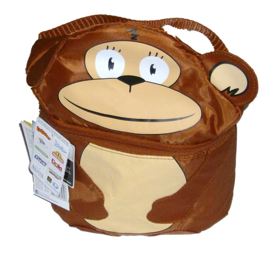 Artic Zone Jungle Monkey Soft Lunch Box Insulated Bag 2 Compartment Lunchbox