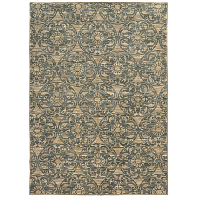 Sphinx Harper Area Rugs - 79192 Contemporary Beige Circles Swirls Curves Loops Rug