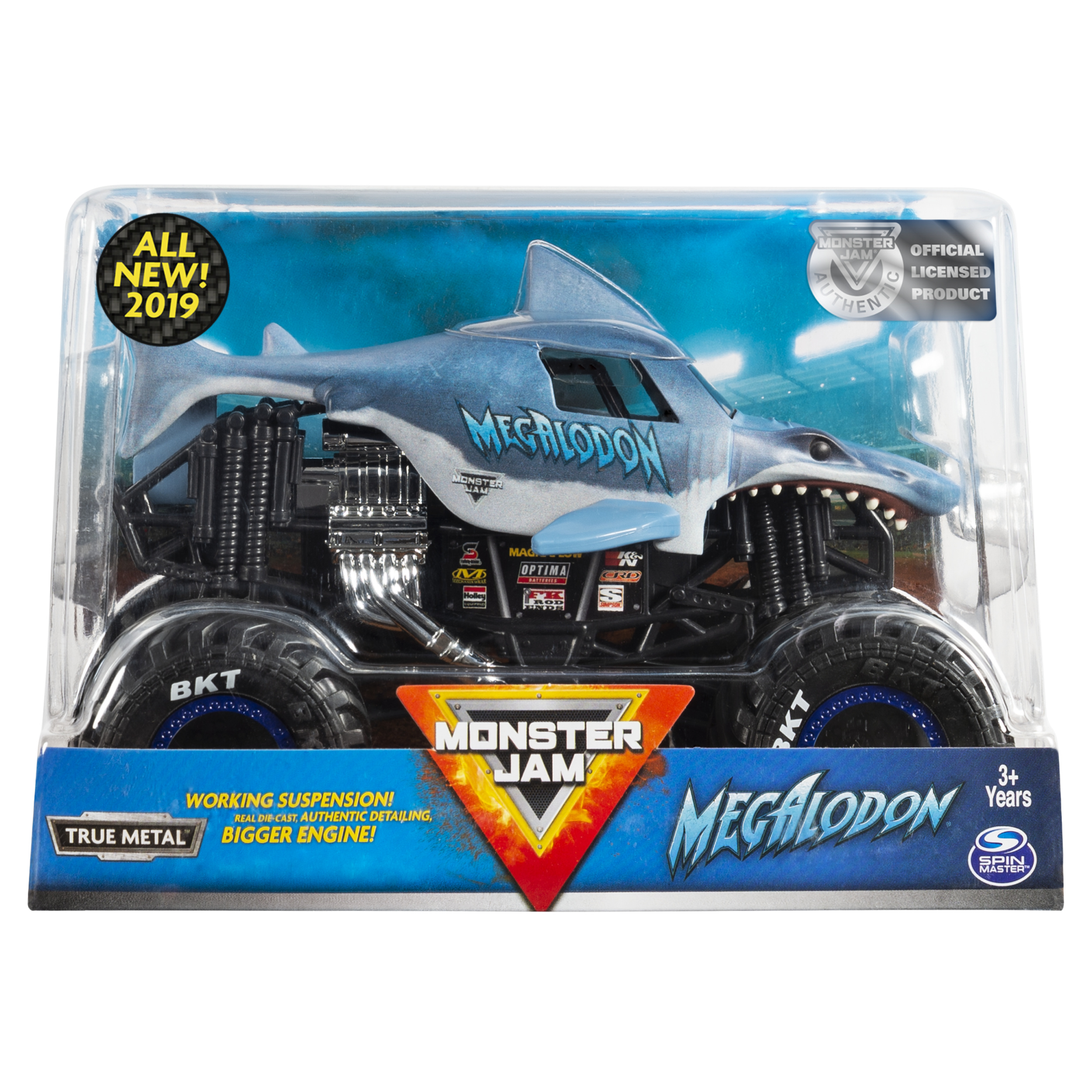 Monster Jam, Official Megalodon Monster Truck, Die-Cast Vehicle, 1:24 Scale
