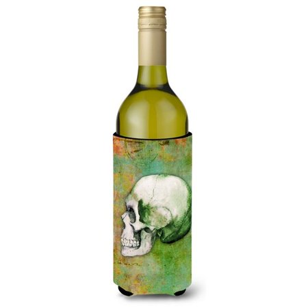 Green Gift Wine (Day of the Dead Green Skull Wine Bottle Beverge Insulator Hugger)