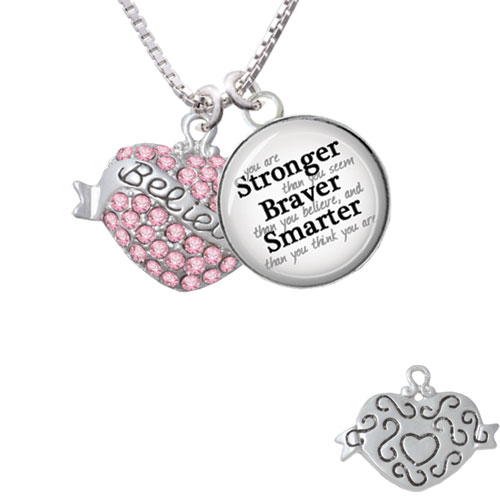 "Believe Banner on Pink Crystal Heart Stronger Braver Smarter Glass Dome Necklace, 18""+2"""
