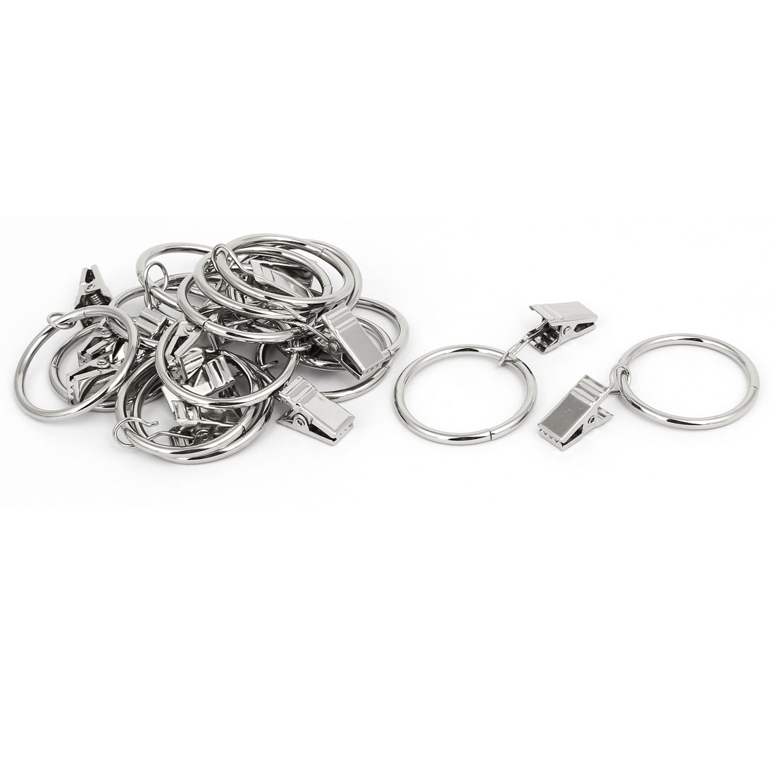 Metal Drapes Curtain Clip Ring Hanging Hooks Silver Tone