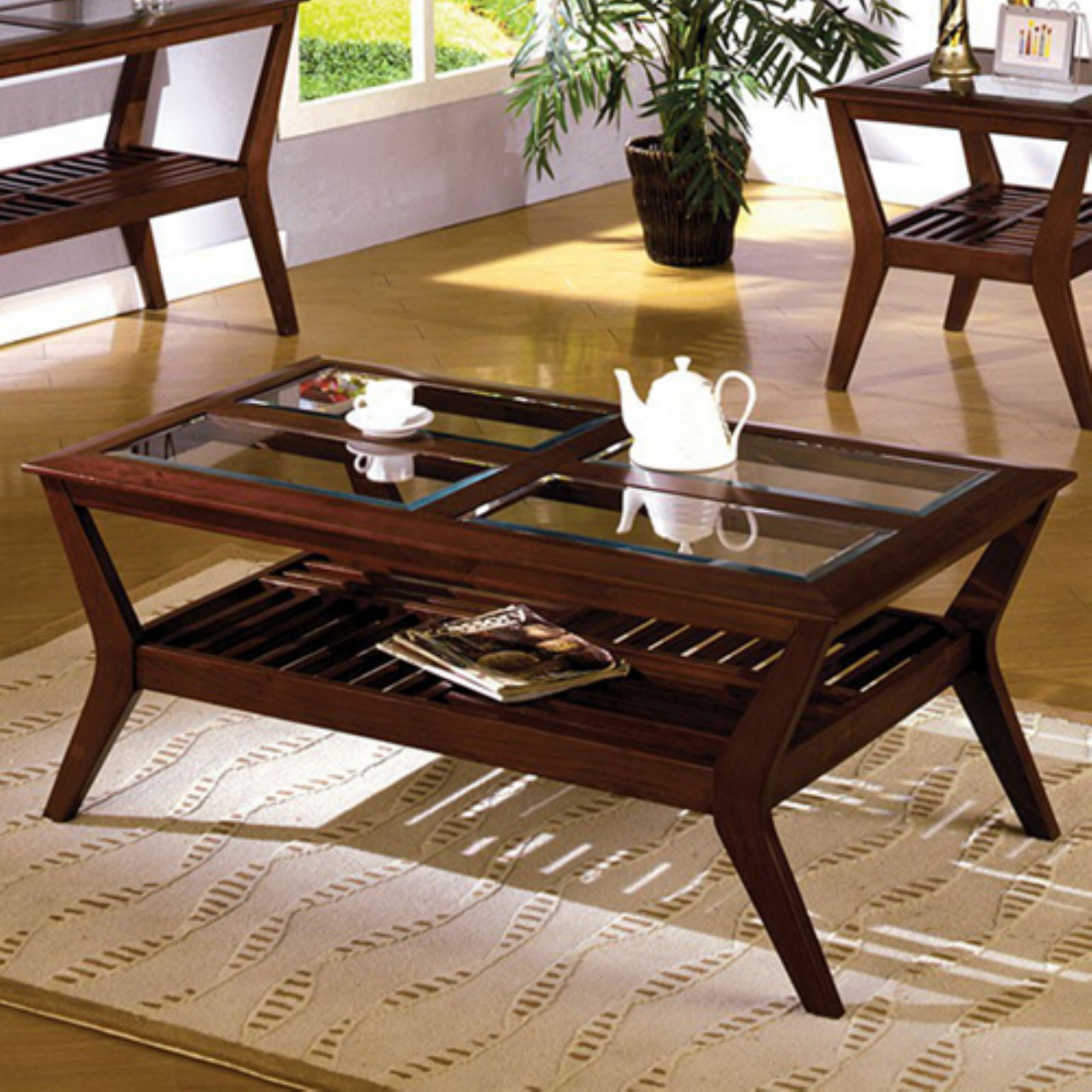 Virginia Beach Coffee Table , Dark Cherry Finish