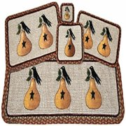 Earth Rugs WW-300 Pear and Crow Design Wicker Weave Swatch Rug, 10 x 15""