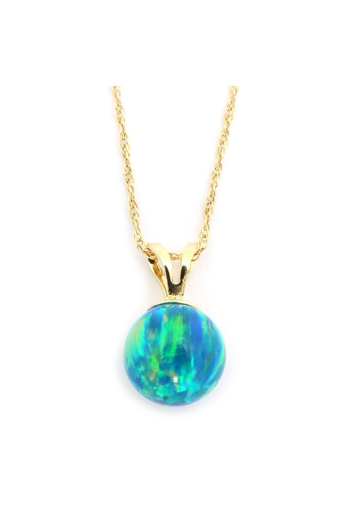 """14k Yellow or White Gold 7mm Green Simulated Opal Pendant Necklace, 13"""" 15"""" 16"""" 18"""" 20""""... by"""