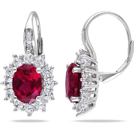 8 Carat T G W Created Ruby And White Shire With Diamond Accent Sterling Silver Leverback Earrings