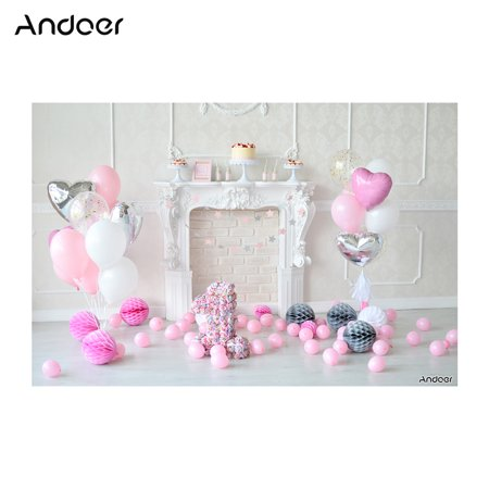 Andoer 2.1 * 1.5m/7 * 5ft First Birthday Backdrop Cake Balloon Fireplace Photography Background Children Baby Girl Kids Photo Studio Pros](Baby Girl Background)