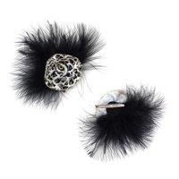 """Zucker Feather Products Marabou Ostrich Feather Clip w/Ribbon - 5.5"""" Diameter - Black/Silver/White"""