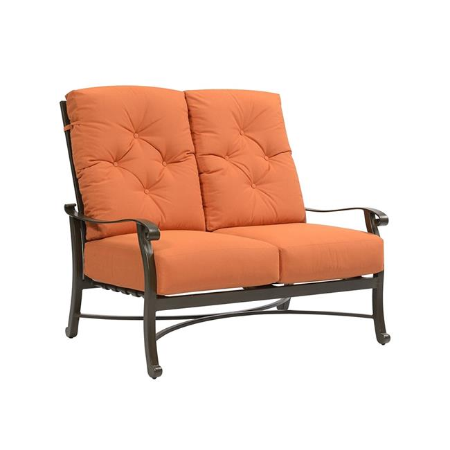 EMERALD HOME CHATHAM LOVESEAT Sunbrella Cushion Loveseat, Cocoa Aluminum Finish, Cayenne