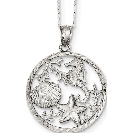 Leslies Fine Jewelry Designer 925 Sterling Silver Seahorse, Starfish and Shell (25x26mm) Pendant Gift