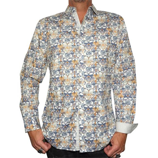 RRMW-228WHT-M Every Rose has a Thorn Mens Button Up Fashion Shirt, Medium - White - image 1 of 1