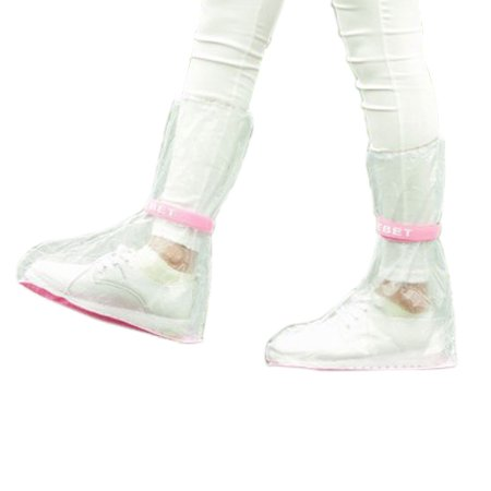 1 Pair Unisex Reusable Rain Boots Shoes Cover Guard Overshoes Pink Clear Size M