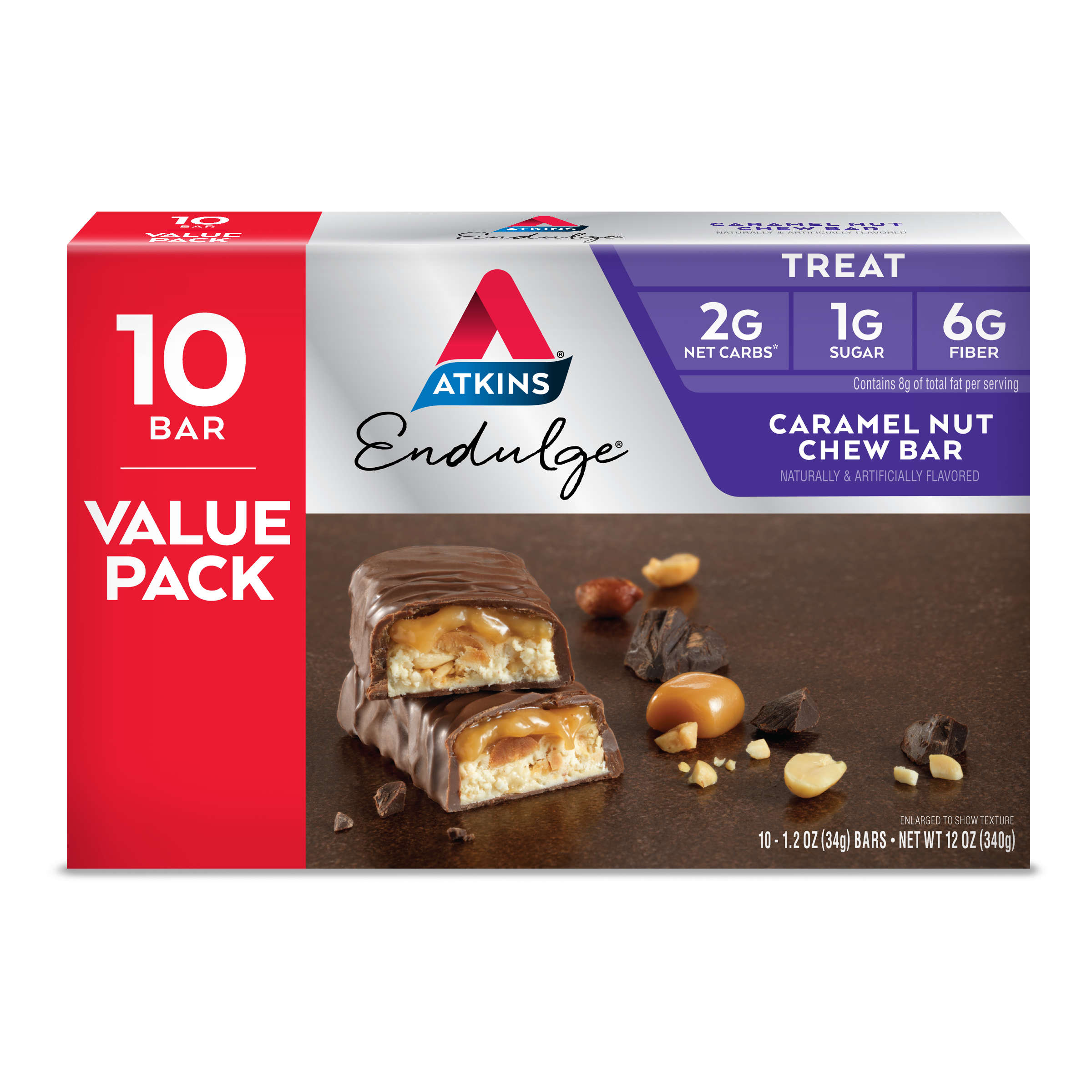 Atkins Endulge Caramel Nut Chew Bar, 1.2oz, 10-pack (Treat)