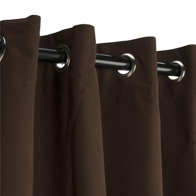 Hammock Source CUR108BBGRSN 50 x 108 in. Sunbrella Outdoor Curtain with Nickel Plated Grommets, Canvas Bay Brown