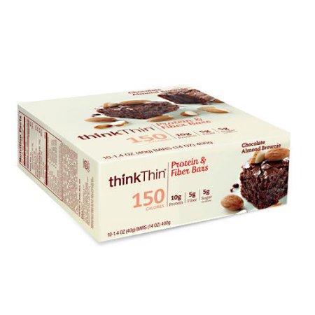 thinkThin Protein & Fiber Bars, Chocolate Almond Brownie, 10g Protein, 10