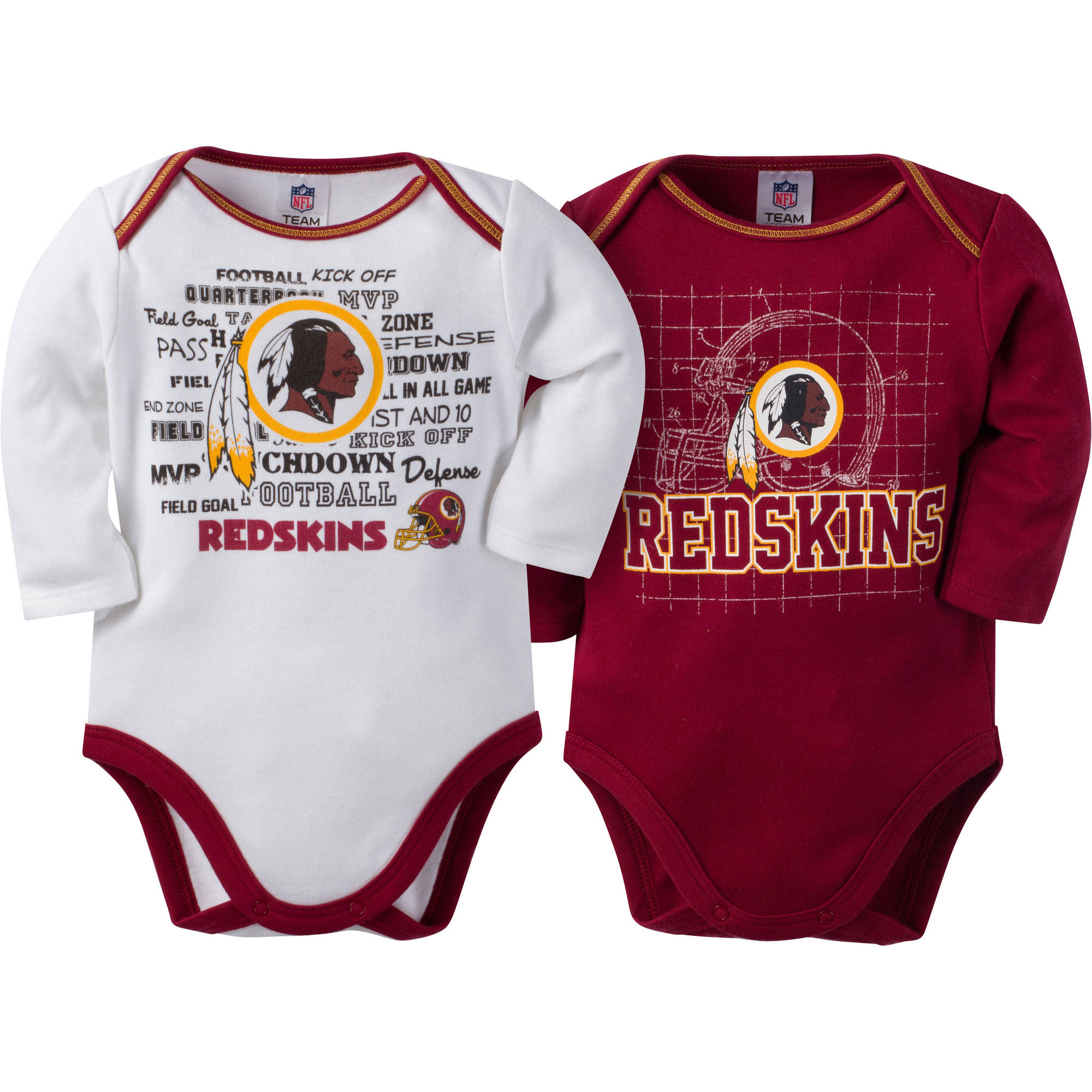 NFL Washington Redskins Baby Boys Long Sleeve Bodysuit Set, 2-Pack