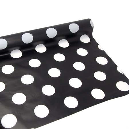 Polka Dot Plastic Table Roll Uncut, Black, 40-Inch x - Black And White Polka Dot Table Cloth