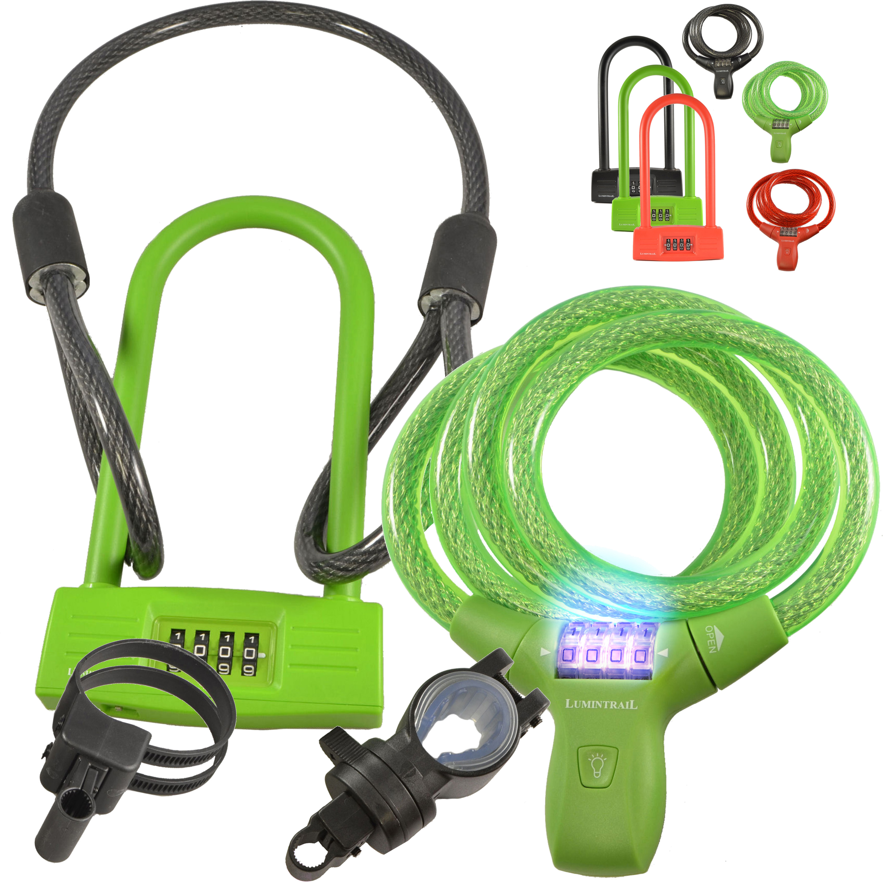 Lumintrail Bike Combination Cable Lock & U-Lock Combo GREEN