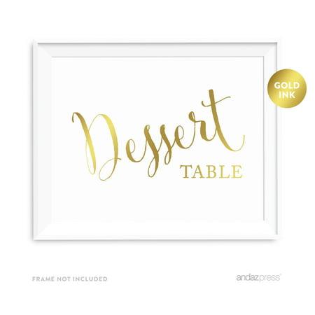 Dessert Table Metallic Gold Wedding Party Signs](Wedding Dessert Table Ideas)