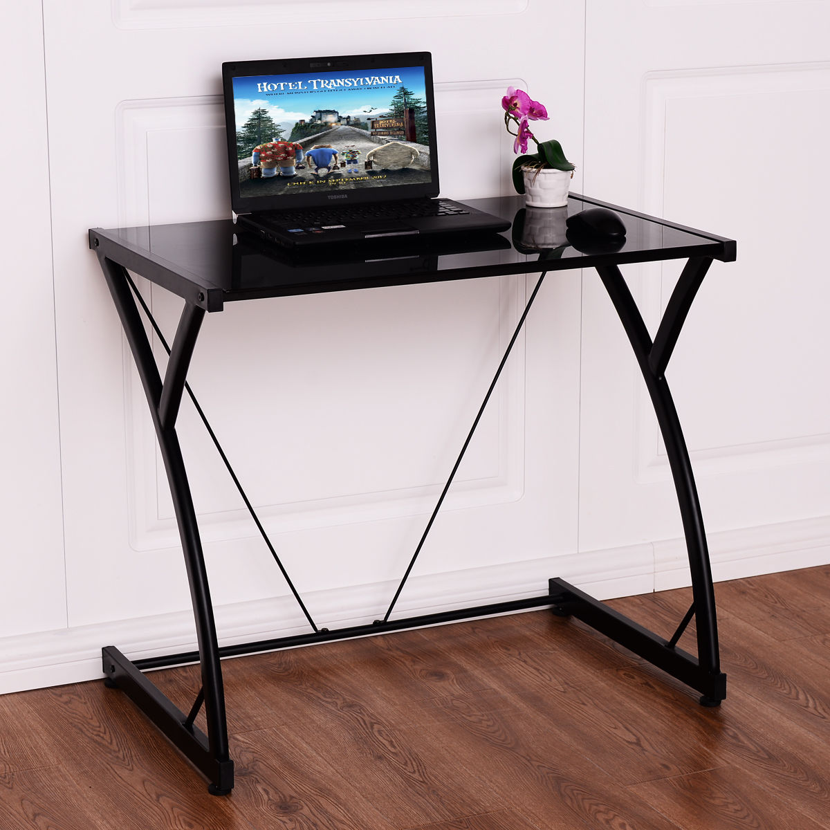 Costway Glass Top Computer Desk PC Laptop Table Writing Study Workstation Home  Office