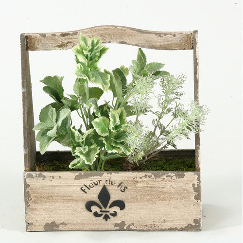 D&W Silks Mixed Herbs Silk Planter