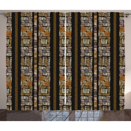 Zambia Curtains 2 Panels Set, Authentic Bohemian African Primitive Striped Grunge Fashion Culture Artsy Pattern, Window Drapes for Living Room Bedroom, 108W X 84L Inches, Multicolor, by Ambesonne ()