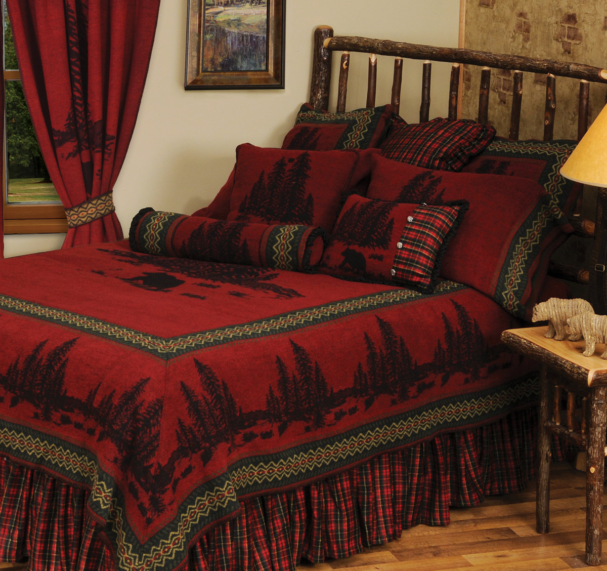 Black Forest Decor Wooded River Bear 5 Deluxe Bed Set - S...