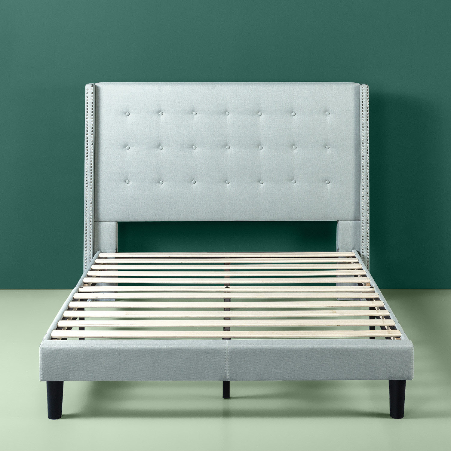 Zinus Kendra Upholstered Grand Wingback Platform Bed