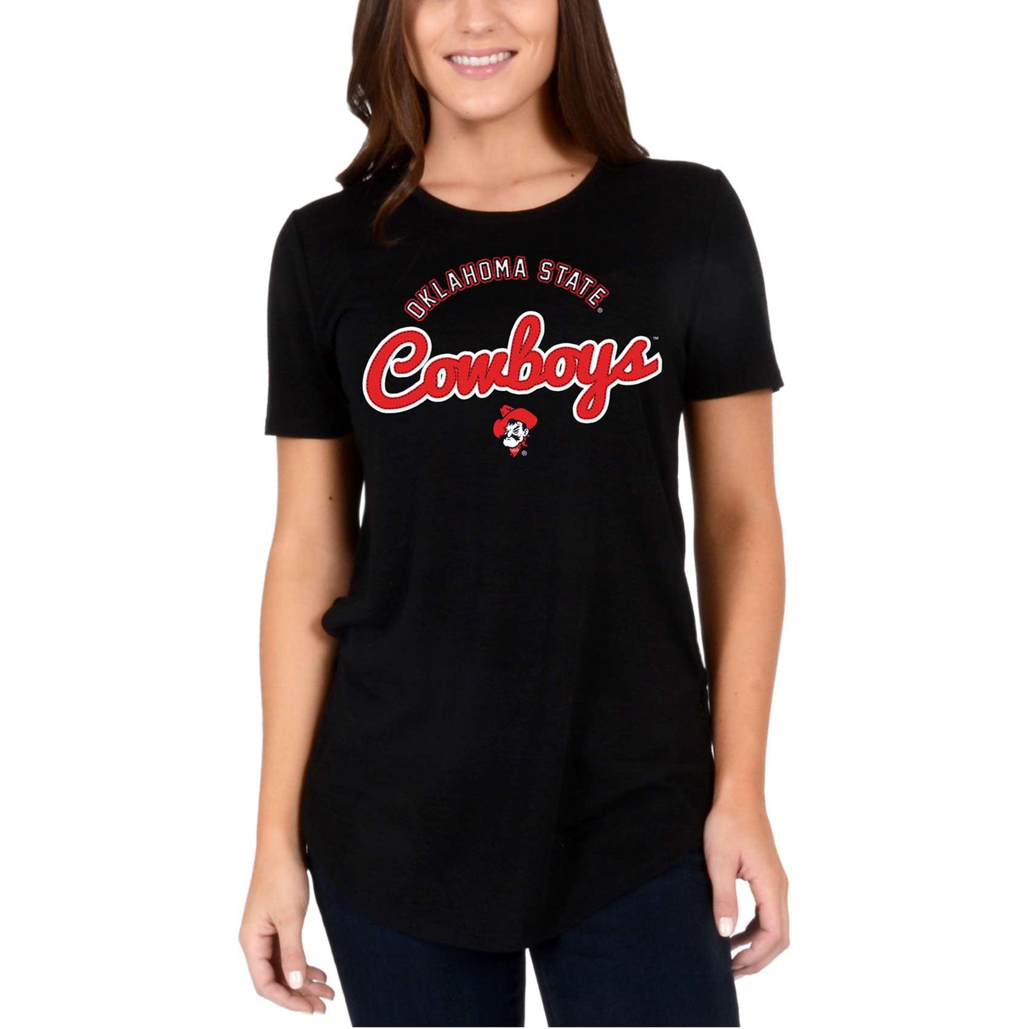 Women's Black Oklahoma State Cowboys Faux Stitch V-Neck T-Shirt