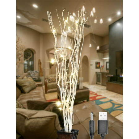 Lightshare Lighted Branches, Natural Twig Vase Filler, 36 inches, 16 LED Light Bulbs, White Finish, Battery Operated and Optional USB Plug-in](Light Battery Operated)