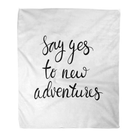 SIDONKU Throw Blanket Warm Cozy Print Flannel Begins Say Yes to New Adventures Saying About Travel Motivational Brush Comfortable Soft for Bed Sofa and Couch 50x60 - Sealing Brush