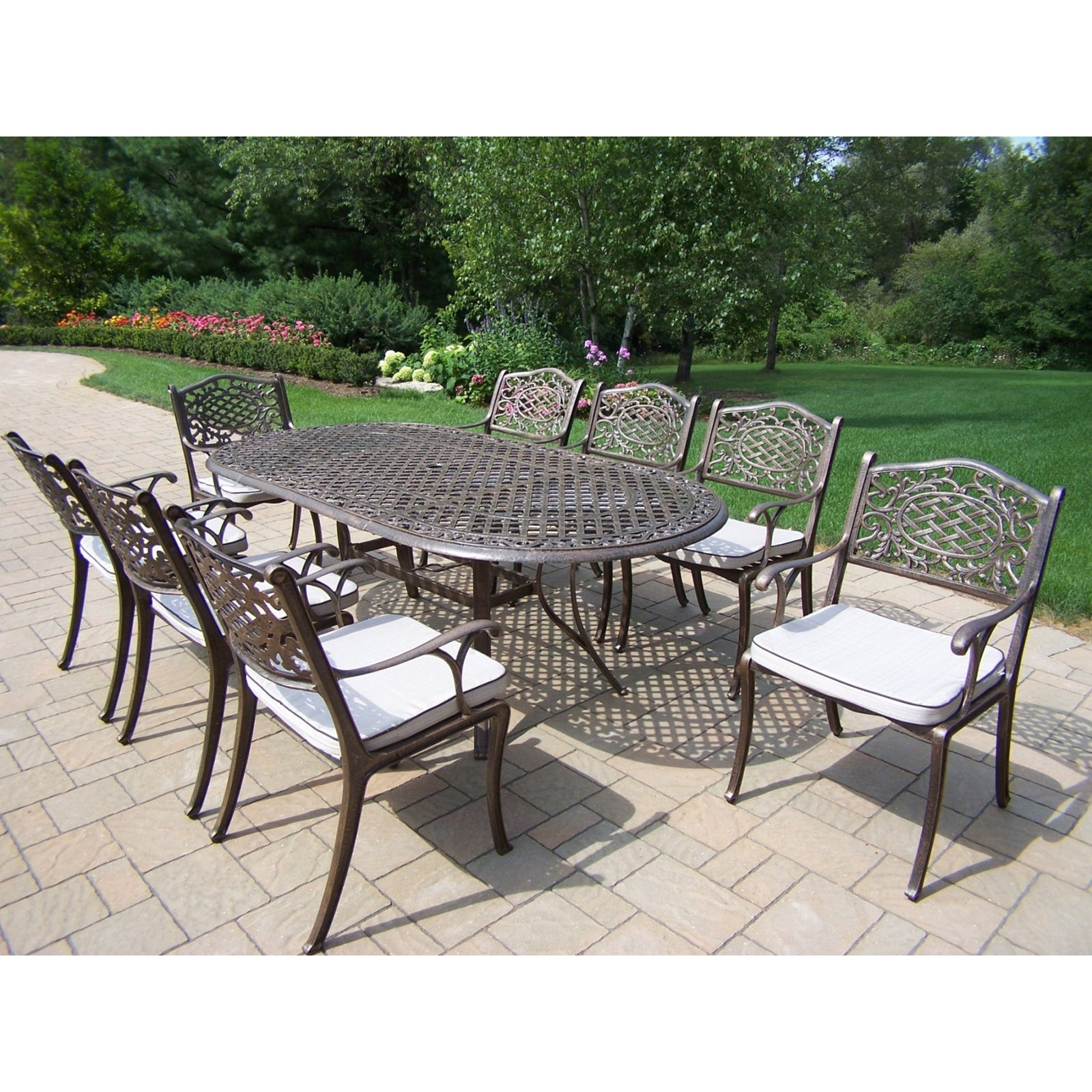 Oakland Living Mississippi Cast Aluminum 82 x 42 in. Oval Patio Dining Set - Seats 8