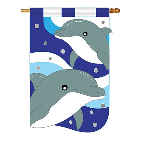 Dolphins Coastal - Everyday Applique Decorative Vertical House (Dolphins Vertical Flag)