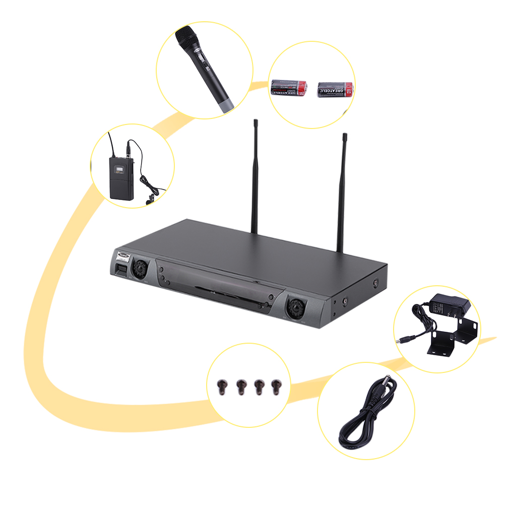 Audio UHF Wireless Microphone System Receiver+ Transmitter Set by