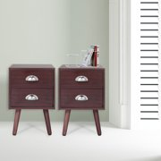 Jaxpety Mid Century Nightstand End Side Table Set of 2 Bedside Table w/ 2 Drawer Home Decor Furniture Brown