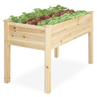 Best Choice Products 48x24x30in Elevated Wood Planter Garden Bed Box Stand for Backyard, Patio - Natural