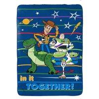 Disney Toy Story 4 Blue Microfiber Blanket w/ Woody, Buzz, Forky, Rex & Aliens