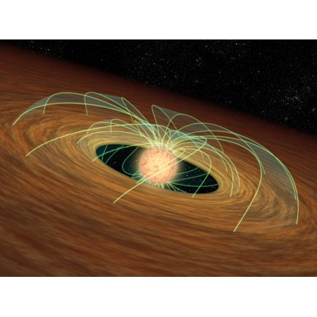 A dusty planet-forming disk in orbit around a whirling young star Poster Print