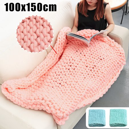 39x59 inch Soft Warm Hand Chunky Knit Acrylic Fibers Blanket Thick Yarn Wool Bulky Bed Knitted Throw Confortable Sleep Christmas Gift [Color:Green, Cyan, Pink] Portland Acrylic Blanket