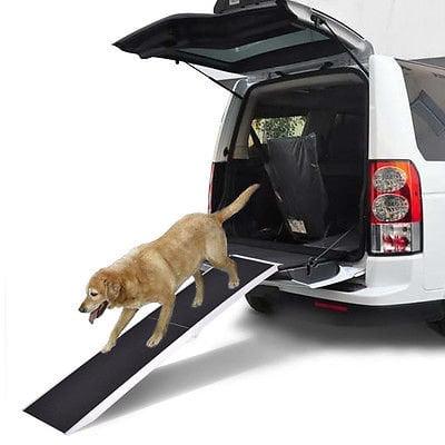 7Ft Portable Aluminum Folding Pet Paw Safe Dog Ramp Ladder Incline Car Truck SUV