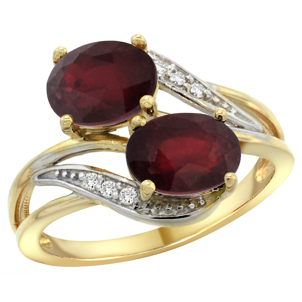 14K Yellow Gold Diamond Natural HQ Ruby 2-stone Ring Oval 8x6mm, size 6.5 by Gabriella Gold