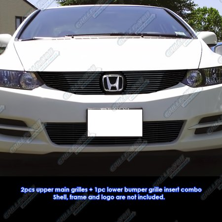 Grille Coupe - Compatible with 2009-2011 Honda Civic Coupe Black Billet Grille Grill Combo Insert